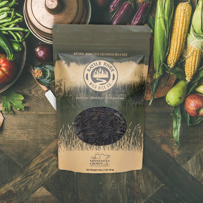 Battle River Wild Rice Product photo with fresh fruits and veggies in the background